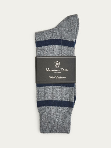 STRIPED WOOL CASHMERE SOCKS