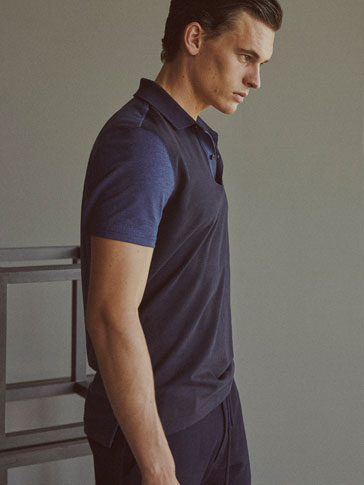 SOFT POLO SHIRT WITH CONTRASTING DETAILS ON THE SLEEVES AND BACK