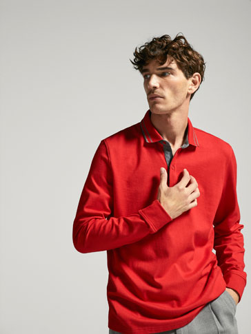 POLO SHIRT WITH LONG SLEEVES AND CONTRASTING DETAIL