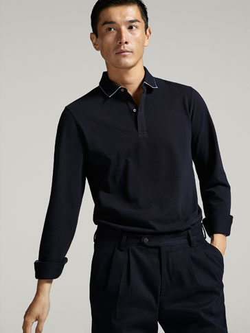 POLO SHIRT WITH SHIRT COLLAR DETAIL