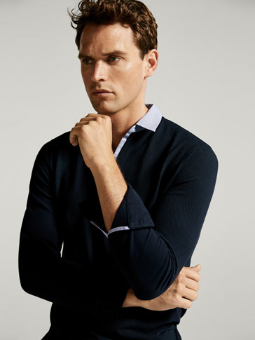 POLO SHIRT WITH CONTRASTING TRIMS ALONG THE COLLAR