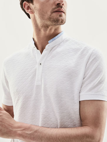 POLO SHIRT WITH DIAMOND TEXTURED WEAVE