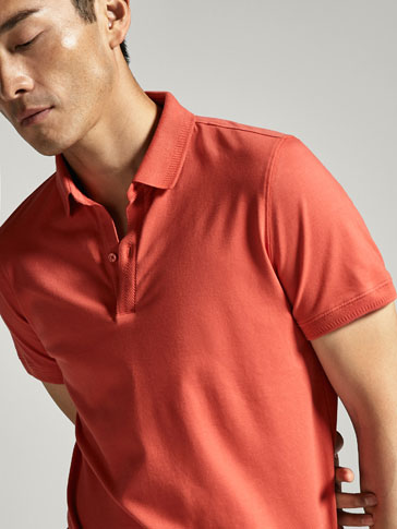 POLO SHIRT WITH HERRINGBONE COLLAR AND PLACKET