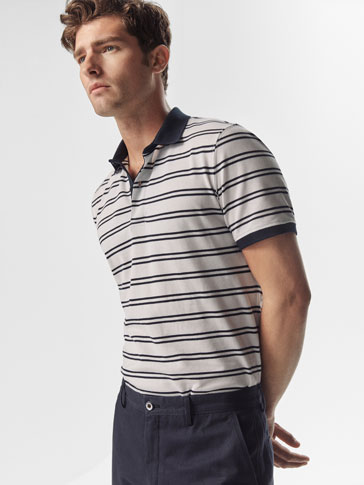 STRIPED POLO SHIRT WITH CONTRASTING DETAIL