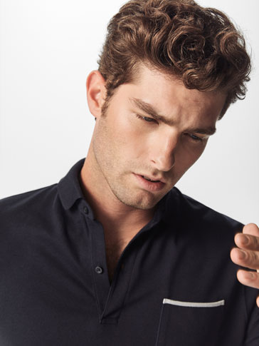 PLAIN POLO SHIRT WITH CONTRASTING POCKET