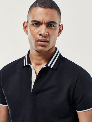 POLO SHIRT WITH CONTRASTING STRIPES