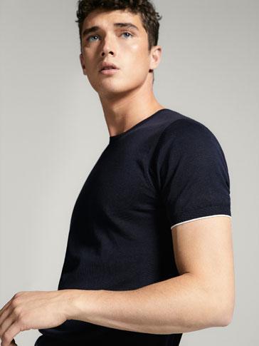 قميص صوف بتفصيل مخطط متباين