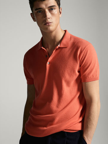 JERSEY POLO NECK STITCHED SHORT SLEEVES