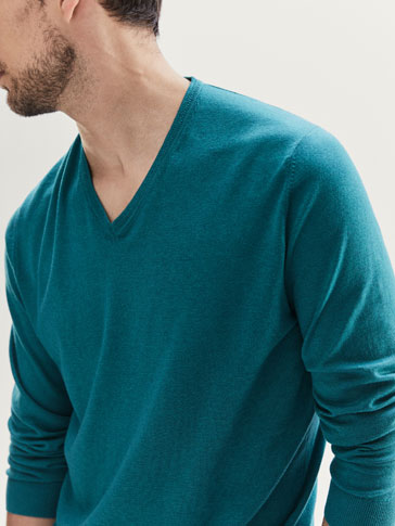JERSEY V-NECK RACKED COLLAR RIB