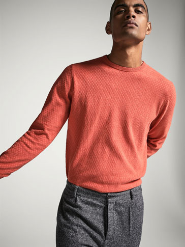 SWEATER WITH TEXTURED CHECKS