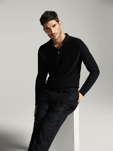 POLO-STYLE SWEATER WITH ZIGZAG TEXTURED WEAVE