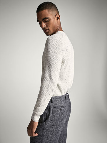 FLECKED SWEATER WITH TEXTURED WEAVE