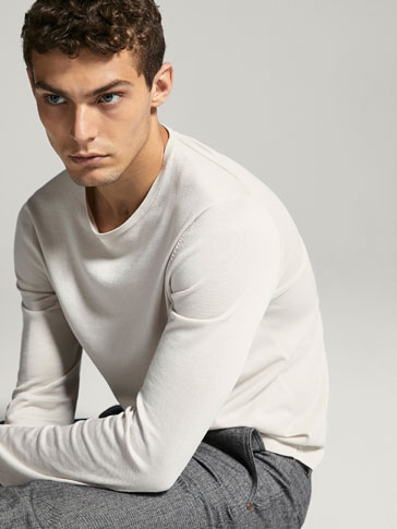 EXTRA FINE COTTON SWEATER WITH TUBULAR DETAIL