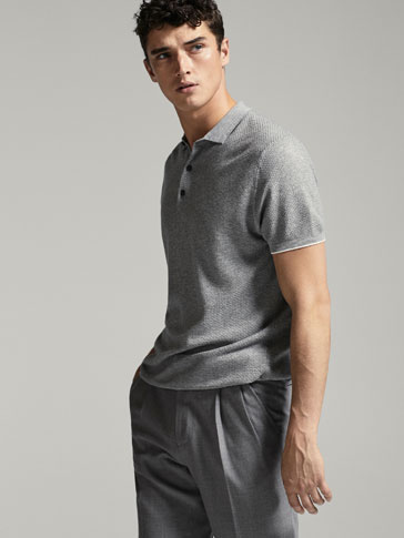 POLO-STYLE TEXTURED WEAVE SWEATER