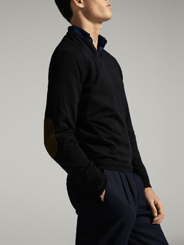 JERSEY V-NECK STITCHED HALF MOON ELBOW PATCH