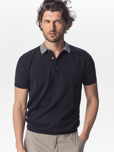 JERSEY POLO NAUTICAL COLLAR RIB