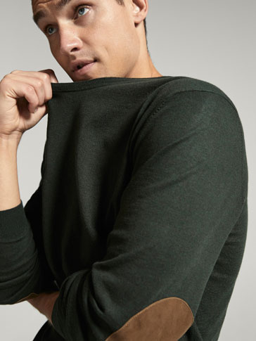 JERSEY CREW NECK ELBOW PATCH