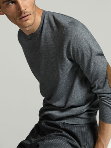 COTTON/SILK/CASHMERE SWEATER WITH ELBOW PATCHES