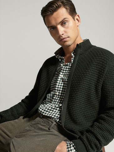 COTTON/CASHMERE TEXTURED WEAVE CARDIGAN