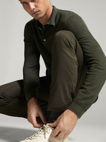COTTON/SILK/CASHMERE POLO-STYLE SWEATER WITH A TEXTURED WEAVE