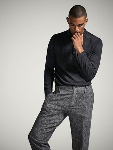 EXTRA FINE MERINO WOOL POLO-STYLE SOLID SWEATER
