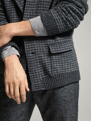 COMBINED JACQUARD/WOOL/SILK CARDIGAN
