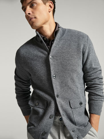 WOOL/CASHMERE TEXTURED WEAVE CARDIGAN