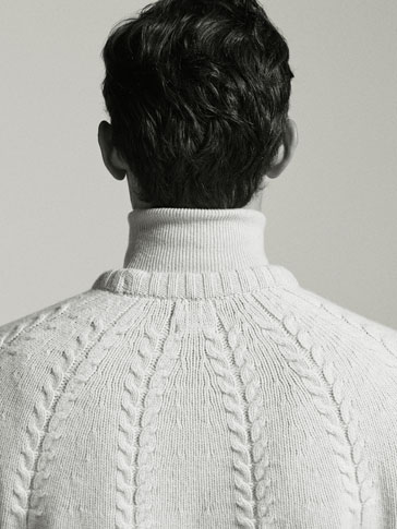 WOOL/YAK SWEATER WITH POSITIONAL CABLE-KNIT DETAIL