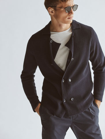 CARDIGAN WITH TEXTURED WEAVE