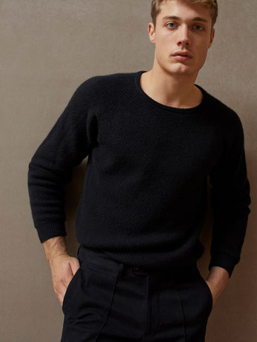 LIMITED EDITION TEXTURED WEAVE WOOL/YAK FIBRE SWEATER