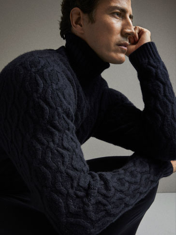 LIMITED EDITION WOOL/YAK FIBRE CABLE-KNIT SWEATER