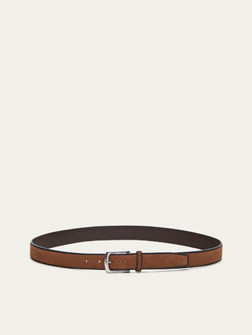 SPLIT SUEDE BELT WITH BURNISHED EDGES