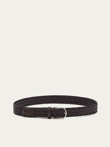 ELASTIC LEATHER BELT WITH BRAIDED DETAIL