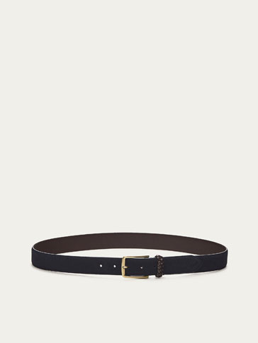 SPLIT SUEDE BELT WITH BRAIDED LOOP DETAIL
