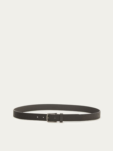 NAPPA BELT WITH EMBOSSED PLAITED DETAIL
