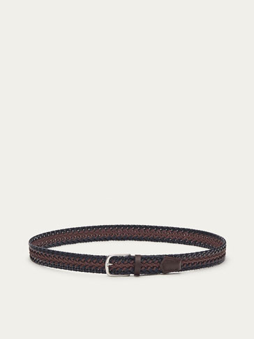 BRAIDED LEATHER BELT WITH CONTRASTING CENTRAL CORD