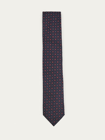 SILK/COTTON MICRO CHECKED AND POLKA DOT TIE