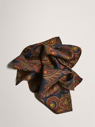 LIMITED EDITION WOOL/SILK PAISLEY POCKET SQUARE