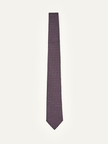 SILK TIE WITH GEOMETRIC MOTIF