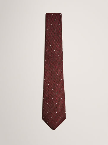LIMITED EDITION WOOL/SILK POLKA DOT TIE WITH TEXTURED WEAVE