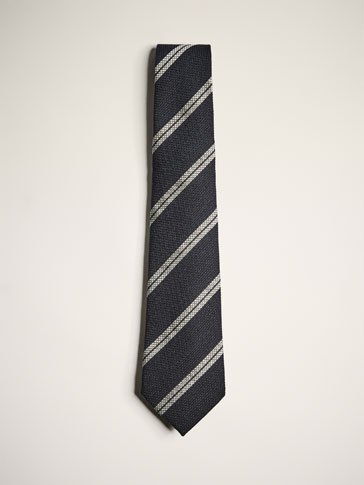 LIMITED EDITION WOOL/SILK STRIPED TIE WITH TEXTURED WEAVE