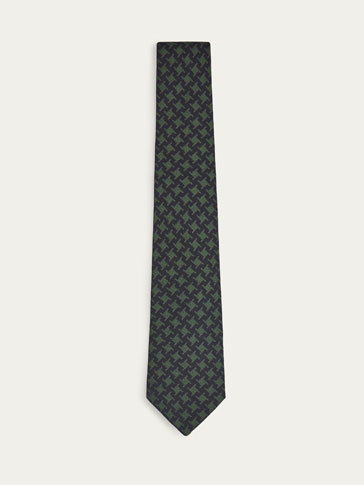 GEOMETRIC PRINT WOOL/SILK TIE