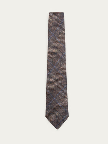 CHECKED WOOL/SILK TIE