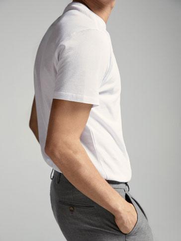 قميص قطني قماش بيكيه سادة