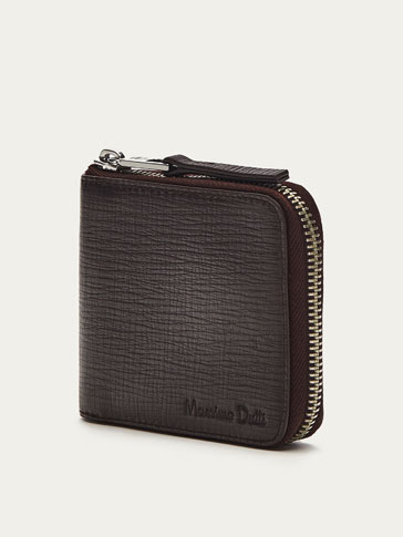 EMBOSSED LEATHER WALLET WITH CONTRASTING DETAILS
