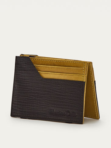 EMBOSSED MAGIC LEATHER CARD HOLDER WITH CONTRASTING DETAILS