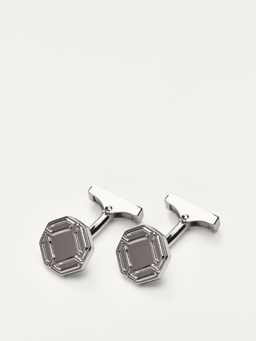 CUFFLINKS WITH HEXAGON PATTERN EMBOSSING