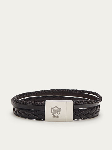 TRIPLE-STRAP BRAIDED LEATHER BRACELET