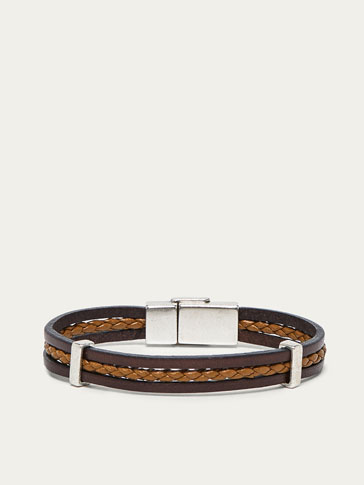 TRIPLE-BAND LEATHER BRACELET WITH PLAITED DETAIL