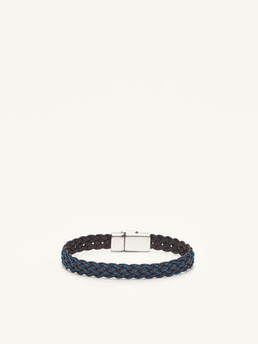 LEATHER BRAIDED BRACELET WITH TOPSTITCHING